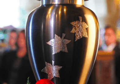 A photo of a cremation urn